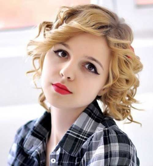 Blonde Short Curly Hairstyle Ideas for Round Face
