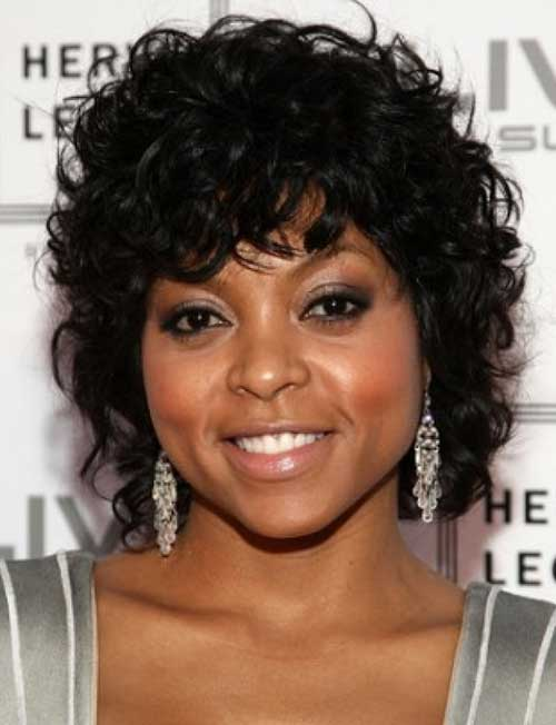 Curly Bob Hairstyles with Bangs for Black Women