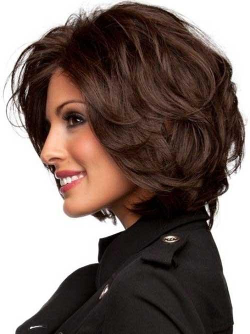 Brunette Wavy Thick Bob Haircuts