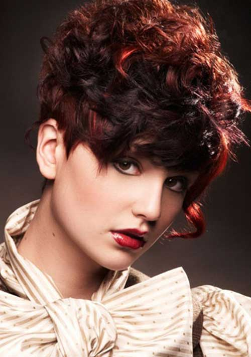 Curly Asymmetric Short Pixie Hairstyles 2015
