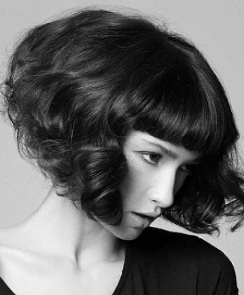 Curly Short Bob Cut with Thick Dark Hair Ideas
