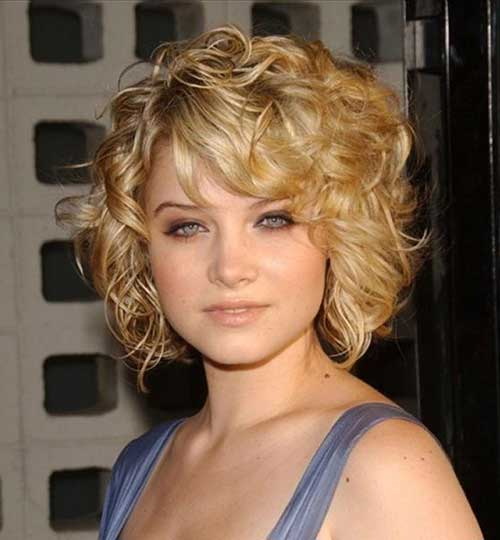 Curly Side Swept Short Hairstyles 2015