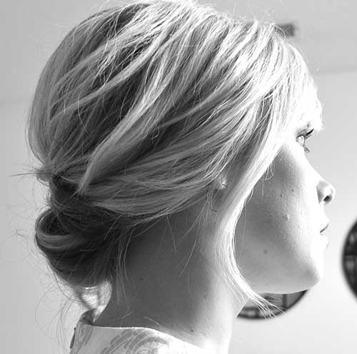 Cute Easy Low Bun Short Hair Back View