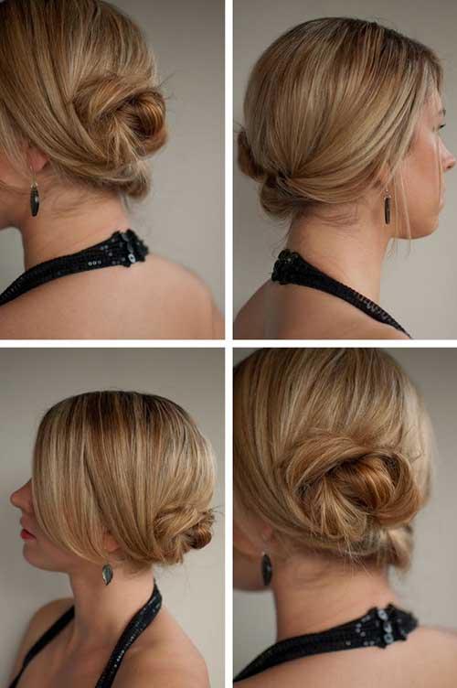 Cute Low Blonde Bun Hairstyles for Short Hair