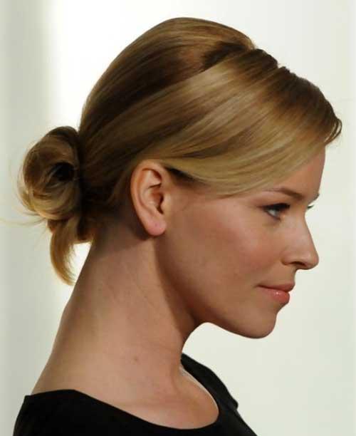 bun hairstyles with bangs : Cute Straight Bun Hairstyles for Short Hair Style