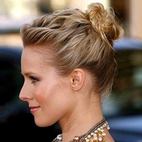 Cute Straight Street Style Top Bun Short Hair Ideas