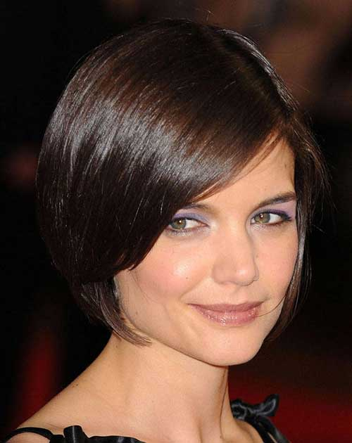 Dark Bob Hairstyles with Side Swept Bangs