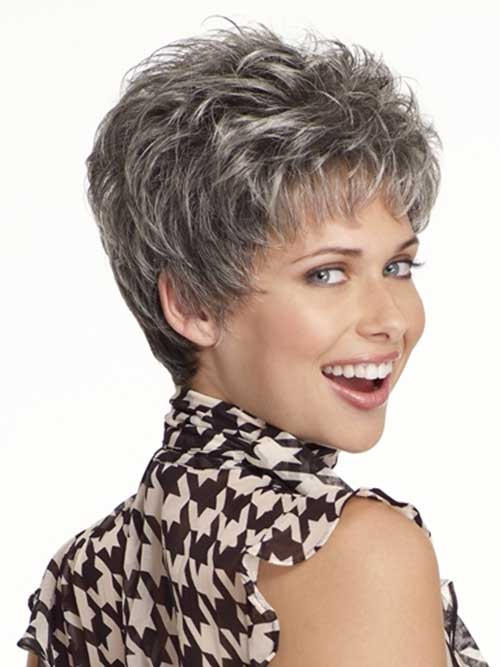 Pixie Layered Short Thin Gray Grey | hairstylegalleries.com