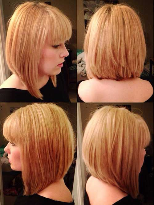 Model 12 Chin Length Layered Bob Hairstyle With Bangs