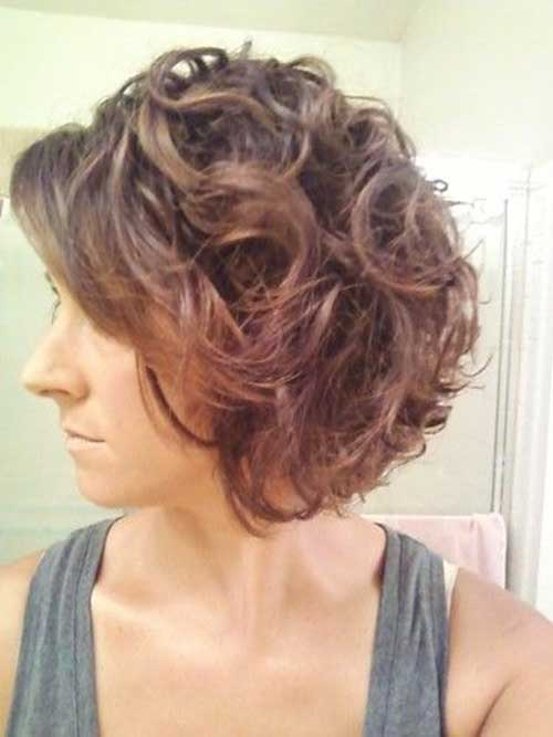 Nice Short Curly Bob Hairstyle Side View 2015