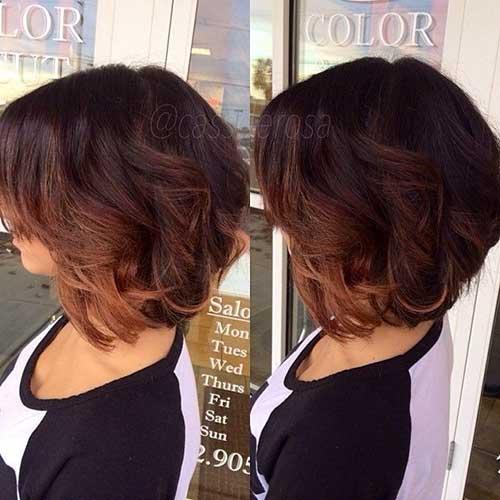 Ombre Brunette Wavy Bob Short Haircuts