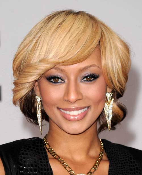Short Bob Hairstyles with Curly Bangs for Black Women
