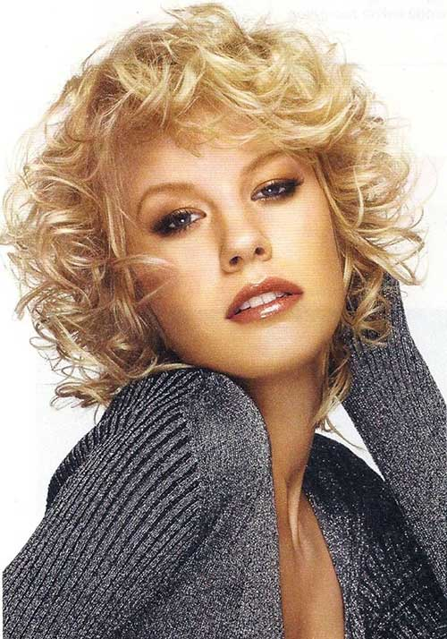 Short Curly Blonde Hair Cut Round Face