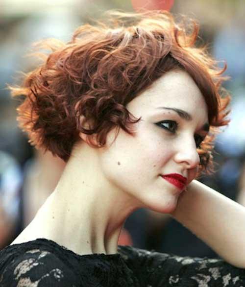 Short Curly Dark Red Hairstyles 2015