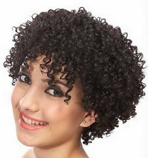 Short Curly Hairstyles with Cute Bangs for Black Women