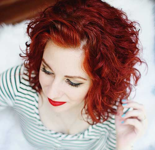 Short Curly Red Bob Hairstyles 2015