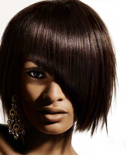 Nice Short Hairstyles with Layered Bangs for Black Women