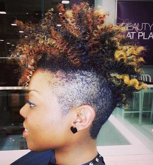 Short Natural Curly Mohawk with Undercut Ideas