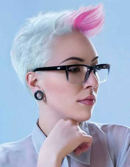 Short Pink Highlighted Pixie Hairstyles