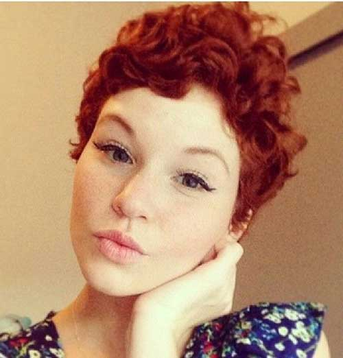 Short Red Pixie Curly Hairstyles 2015