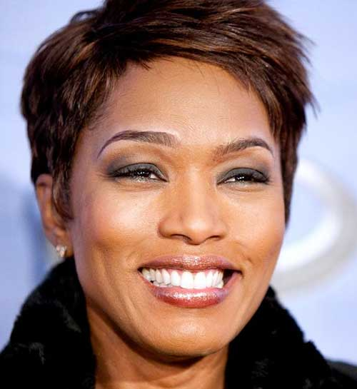 Short Straight Pixie Hairstyles with Bangs for Black Women