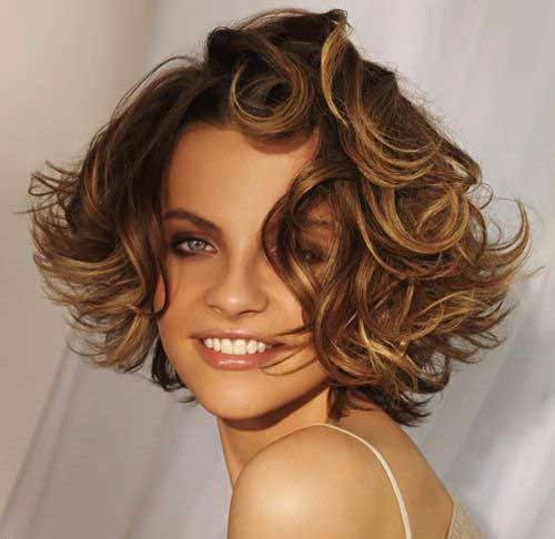 Short Bob Wavy Curly Hair with Bangs
