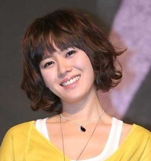 Cute Short Wavy Hair with Straight Bangs