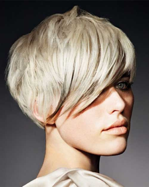 Thick Short Blonde Pixie Haircuts with Long Bangs