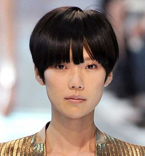 Asian Short Haircuts with Blunt Bangs Ideas