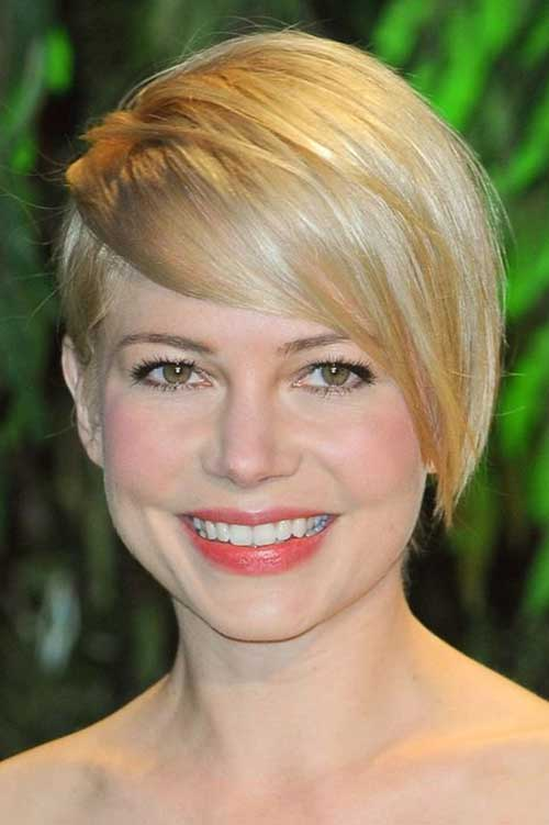 Blonde Long Pixie Haircut for Round Face