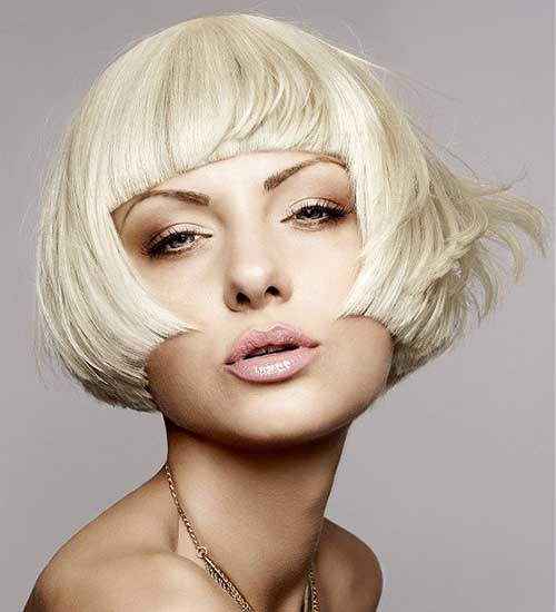 Blunt Bob with Bangs Blonde Haircuts