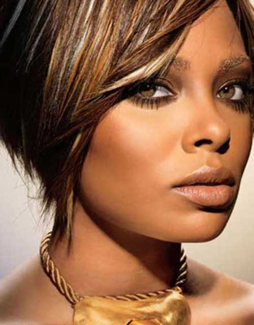 Short Bob with Layered Bangs Hairstyles for Black Women 2014