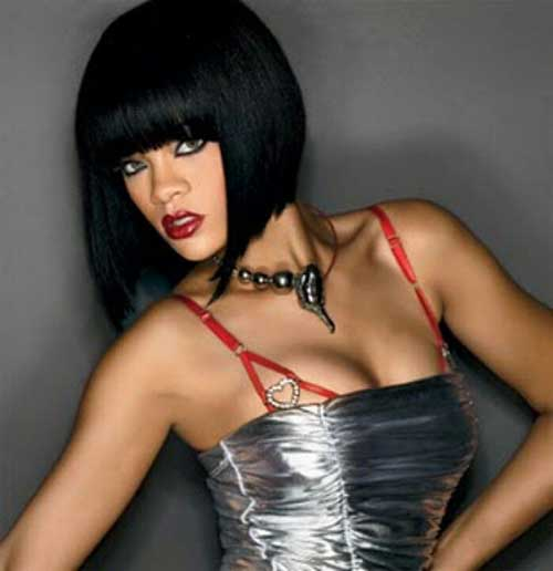Long Dark Blunt Bob Hairstyles for Black Women