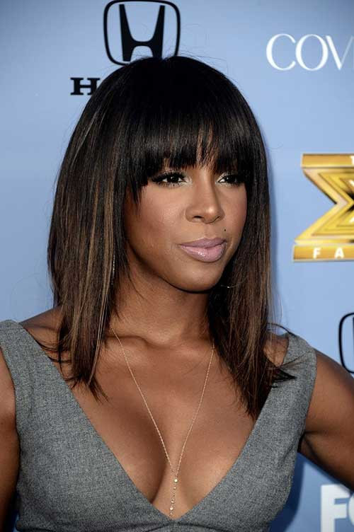 Long Bob with Bangs Hairstyles for Black Women