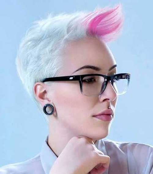 Punk Short Blonde Hair with Pink Bangs