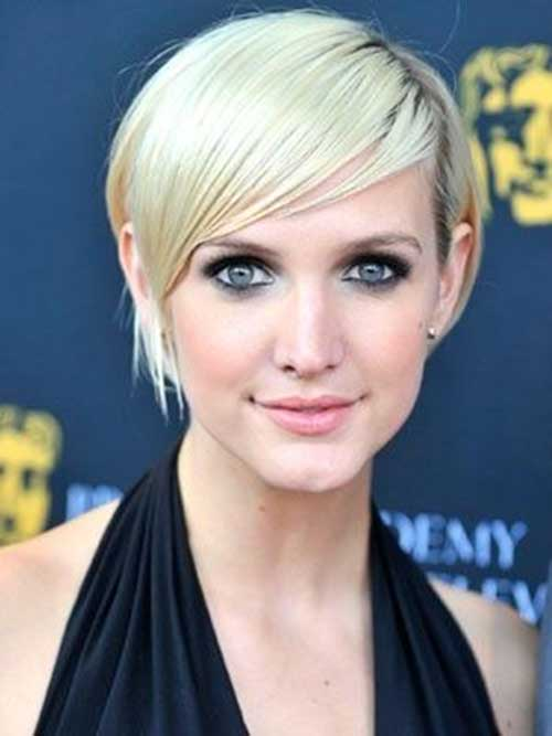 Short Blonde Pixie Haircut with Side Bangs