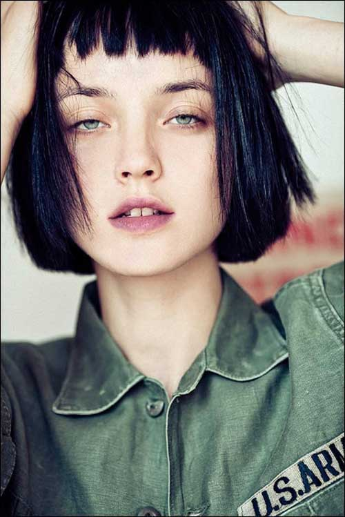 Short Blunt Bob with Bangs Hairstyles