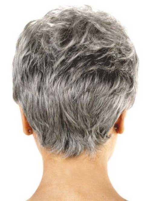 Short Pixie Hairstyles for Grey Hair Back View