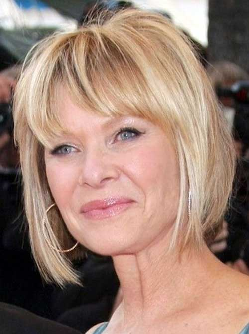 Bob Haircut Ideas with Bangs for Older Ladies
