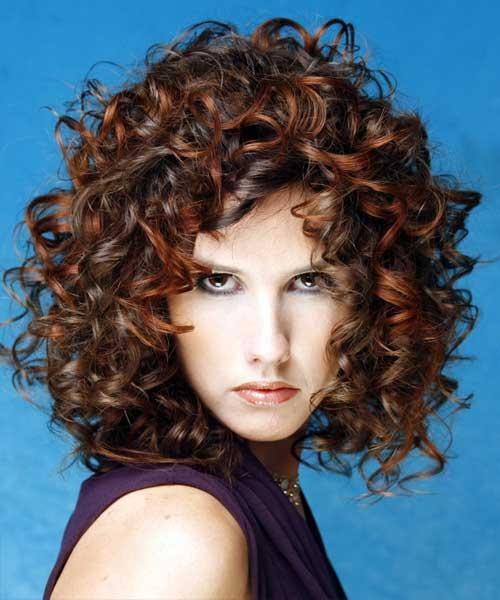 Curly Dark Short Permed Hairstyles