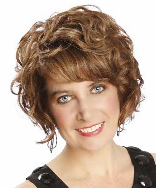 Curly Short Hairstyles with Bangs for Oval Faces