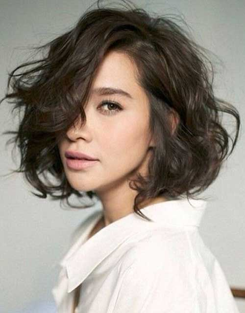 Messy Short Dark Brown Haircuts for Wavy Thick Hair Ideas