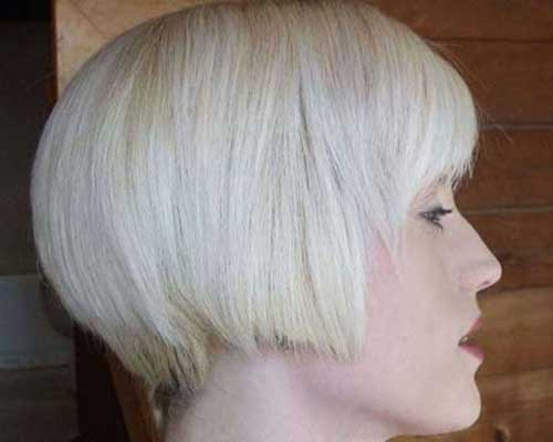 Platinum Blonde Inverted Bob Cut