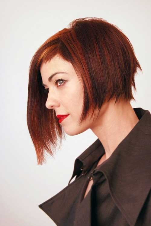 Red Colored Asymmetrical French Bob Short Hairstyle