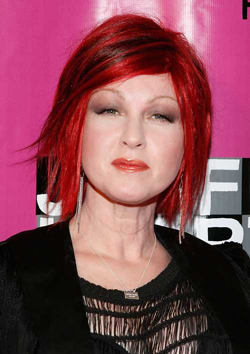 Red Colored Razored Bob with Side Bangs