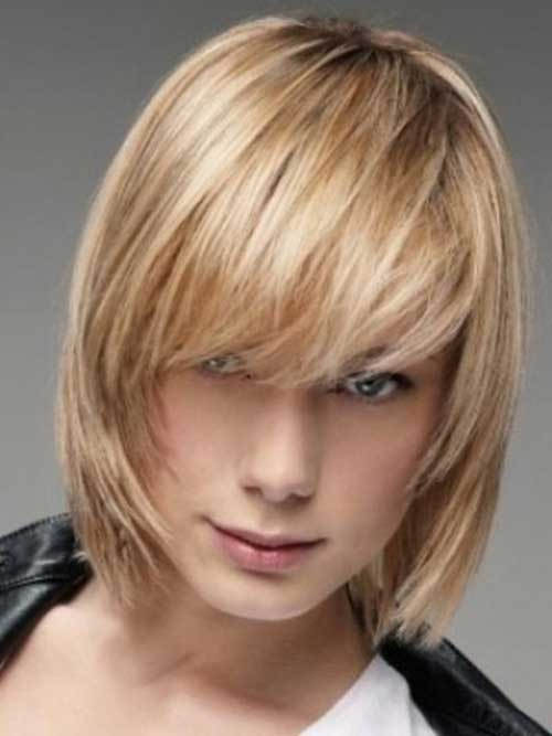 Short Bob with Layered Bangs for Thin Hairstyles