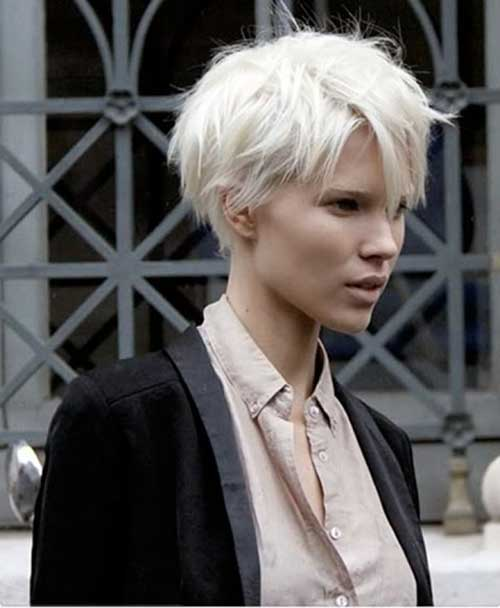Short Cropped Platinum Blonde Pixie Hair Cuts