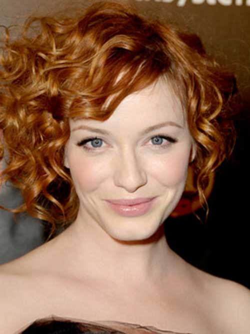 Red Short Haircut for Curly Hair Oval Face