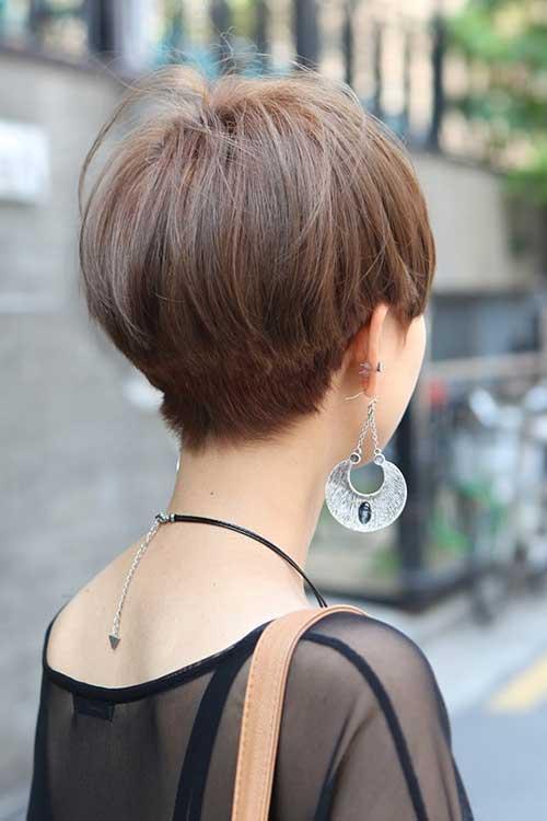 Short Layered Straight Hair Back View