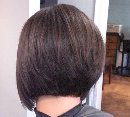 Stacked Dark Bob Haircuts Back View